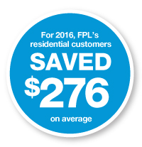 For 2016, FPL's residential customers saved